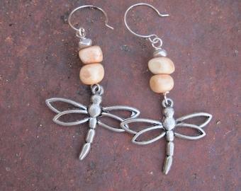 Silver Dragonfly Charm and Wood Beaded Earrings - Nature Earrings - Boho Earrings