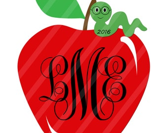 Bookworm Apple Monogram Digital Downloads for iron-ons, heat transfer, Scrapbooking, Cards, Tags, Signs, DIY, YOU PRINT