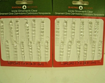 """24 Miniature Clear Plastic Hanging Icicle Ornaments for Feather Tree 1.75"""""""