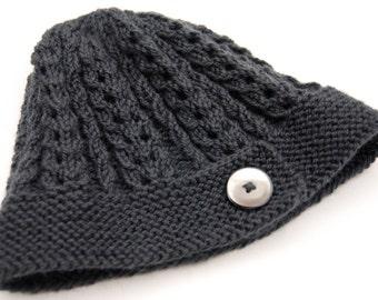 Dark gray hat, dark gray beanie, button hat, button beanie, wool hat, wool beanie, gray knit hat, gray knit beanie, lacy stitch hat