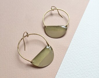 NEW Color Dipped Crescent Hammered Earrings, 14k Gold Filled, Gifts for Her