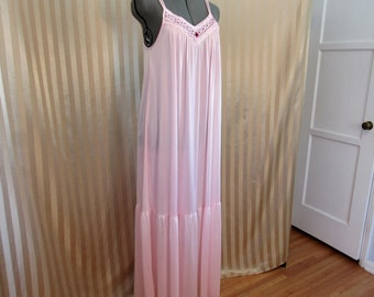 Vintage 70s Pink Steampunk Victorian Barad & Co Tom Bezduda  Tent Ruffle Lace Summer Silky Nightgown size S