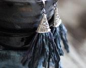 SPRING SALE Tassel Earrings, Silk Sari, Recycled and Fair Trade, Handmade Tassel, Sterling Silver Cone, Dangle Earrings,  Ultra Boho, Indigo