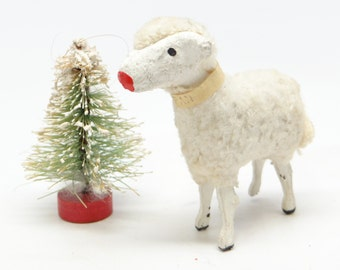 Antique Little 1950's Wooly 2 1/4 Inch Sheep, Hand Painted,  for Putz or Christmas Nativity
