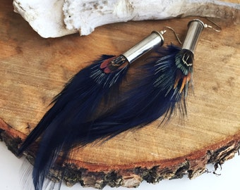 Bullet and Feather Earrings Midnight Blue, Boho Feather Earrings, Bullet Casing Earrings Bohemian Style