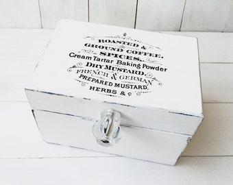 White Shabby Chic Recipe Box/ Recipe Box / Recipe Card Holder/ Wood Recipe Box / Wooden Box / Wedding Gift/ Bridesmaid Gift/ Christmas Gift