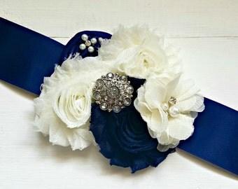 NAVY Flower Girl Sash, Bridal Sash, Maternity Sash, Bridesmaid Sash, Custom Sash, Bridal Belt, Flower Sash, Sash, Sash Belt