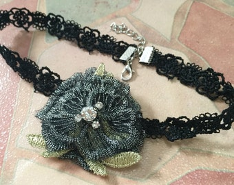 Marie Antoinette Style Victorian Chic Lace Choker Necklace, Floral Lace with Crystal Choker, Black Choker, Black Lace Choker