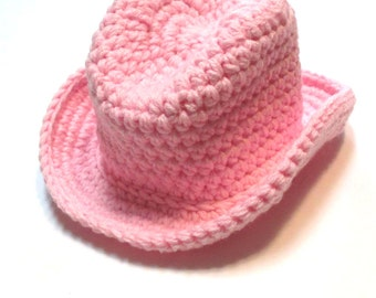 Baby cowboy hat.  Pink, blue or brown baby cowboy hat.  Made to order.  Cowgirl hat, cowboy hat.  Crochet cowboy hat.