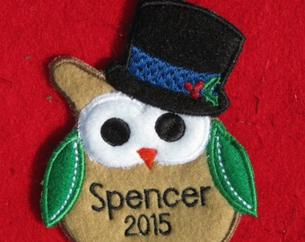 Personalized Owl Ornament or Gift Embellishment