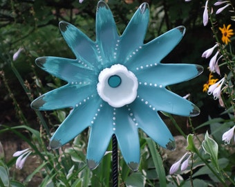 Painted Glass Yard Art, Outdoor Art Sun Catcher, Glass Garden Art, Home Décor with repurposed glassware