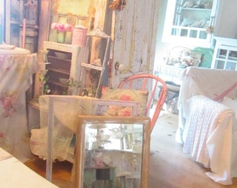 Etched mirror  vintage shabby  white chippy painted frame  shabby rustic