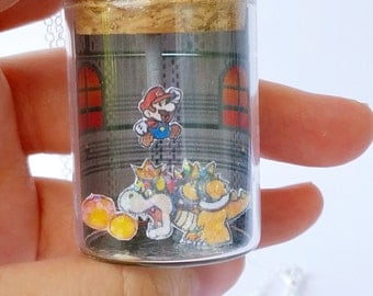 READY TO SHIP, Paper Mario/Bowser Battle Bottle Necklace