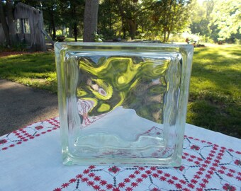 Large Clear GLASS BLOCK  -  weighs almost 6 pounds  -  OPTIC Diffusion - Art - Repurpose - Home Decor - Garden - Industrial