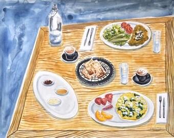 Dinner Table Food Art - original painting
