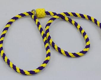 "35"" Braided Paracord slip tab, suppression collar purple/yellow"