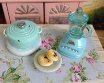 Dollhouse Miniature Shabby Chic Miniature Light Blue Metal Casserole with Matching Light Blue Plastic Blender and Whoopie Pies