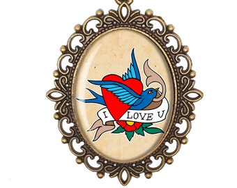Old School Tattoo Retro Pin Up Tattoo I Love You Swallow Heart Victorian Cameo Large or Small Handmade Bronze or Silver Necklace Jewellery
