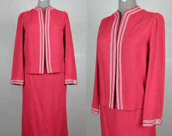 Vintage 1950s Suit 50s Salmon Pink Linen Suit with Boxy Open Jacket by Petti 28 Waist