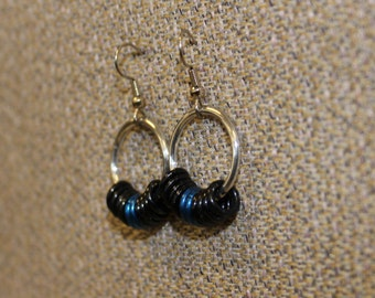 Aluminum and black and blue earrings