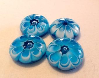 4 Aqua Flower Buttons
