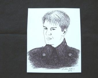"Captain Jack Harkness 2.5"" x 3"" original art magnet"