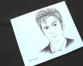 "David Tennant Dr Who 2.5"" x 3"" original art magnet, black and white minimalist art"