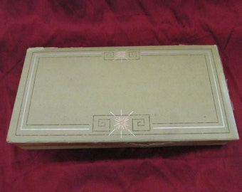 Vintage Midcentury '50s Trinket Box Pink Starburst Greek Key Design Chartreuse Green Cardboard Box