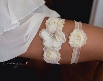 Bridal Garter Set Ivory Lace and Ivory Wedding Set with Swarovski Pearls and Crystals