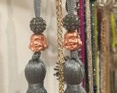 Rosegold Buddha Grey Tassel Earrings