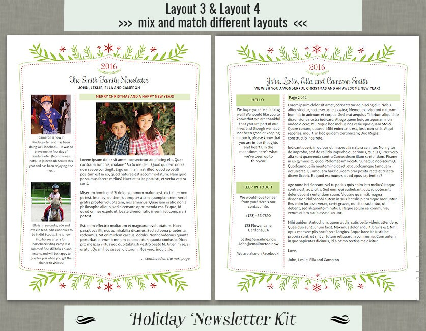 Holiday Newsletter Template Kit For Print  With Text Formatting