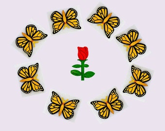 Magnets - Wall Art - Hand Oil Painted And 3D Print - Includes small pieces of Mount Tape As Alternative - Item Butterfly B_Rose A