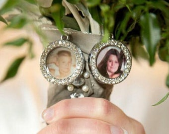 Photo memory charms to hang on a bouquet for Loved ones Photo  Boutonniere, and bridesmaid gift