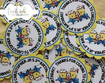 Minions Personalized Birthday Stickers