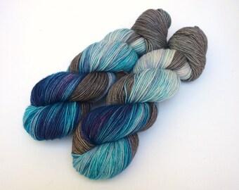 Hand Dyed Fingering, Sock Yarn, Superwash Merino Wool, Variegated, Knitting Yarn, Glacier