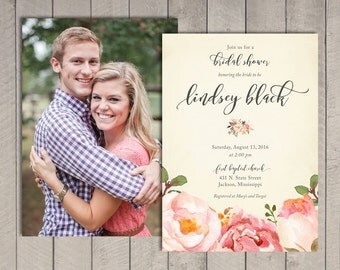 Romantic Floral Bridal Shower Invitation (Printable) DIY by Vintage Sweet
