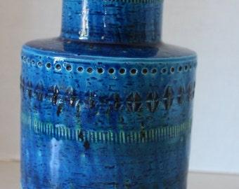 Signed Flavia Montelupo Mid Century Modern Italian Pottery Vase Blue