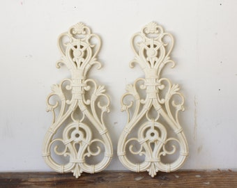 Retro Wall Art White Molded Resin Faux Bamboo Wall Hanging Pair Flourishes