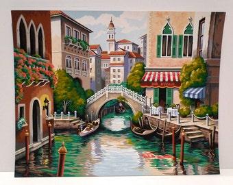 Venice Paint By Number Vintage Venice Italy PBN Gondolier Canal Scene 1970s 1980s Romanic Buildings Cityscape Bar Ducale Venetian Bridge