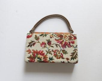 Vintage large floral carpet tapestry bag