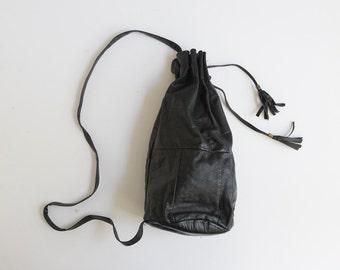 vintage black leather drawstring bag