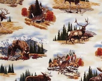 Deer Fabric, Elk Fabric, Bear Fabric, Moose Fabric, Bringing Nature Home by Robert Kaufman, 145523