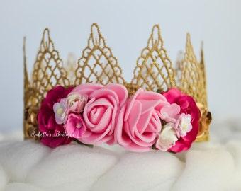 Gold and Pink Newborn Crown Royalty Newborn Tiara Newborn Photo Prop Photo Prop