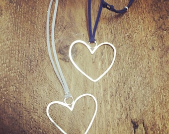 Faux Suede Heart Necklace