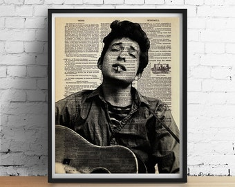 Young Bob DYLAN Dictionary Page Art Print Poster Folk Rock Country Poet - Black and White Wall Decor - Vintage Book Page 8x10 A3 +More Sizes