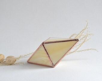 Golden Tone Glass Box Mini Terrarium, Creamy Stained Glass Planter Geometric Shape. Miniature Wedding gift. Mini air plant holder.