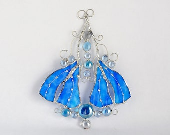 Blue Stained Glass Sun Catcher Wild Leaves Raindrops Made To Order