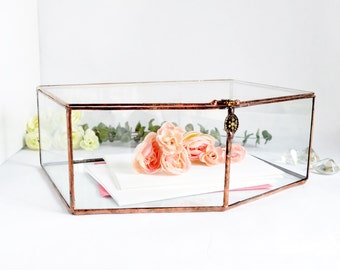 Wedding Card Box, Envelope Holder, Glass Box, Wedding Gift, Gift For Her, Gift For Girlfriend, Jewelry Box, Display Box by jacquiesummer