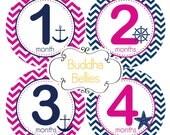 Nautical Baby Girl Baby Month Stickers Navy and Pink Girl Bodysuit Stickers Monthly Baby Stickers  Baby Shower Gift Anchors Starfish
