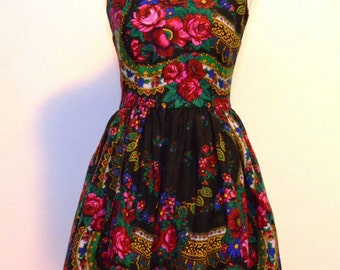 Black Flower Dress Black Folk Dress Black Ethnic flower Dress Russian flower Dress Gypsy Dress OOAK dress Boho Dress Cocktail flower Dress